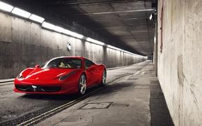 Картинка красный, перед, Ferrari, red, спорткар, феррари, 458, тунель, Italia