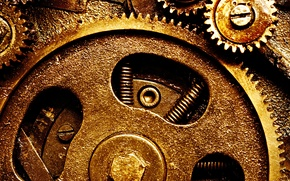 Обои gears, metal, clockwork, springs
