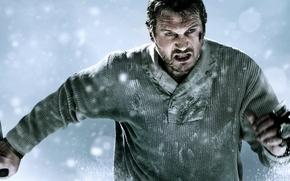 Обои Liam, Neeson, Нисон, Лиам, снег, схватка, The, фильм, нож, Grey