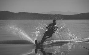 Картинка lake, man, splash, reflection, ski, skiing, extreme sport