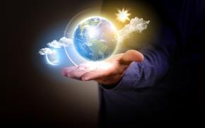 Картинка земля, вселенная, планета, шар, рука, мужчина