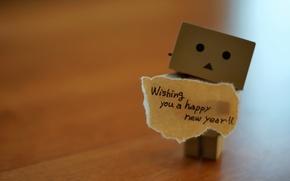 Картинка настроение, праздник, коробка, человечек, пожелание, с новым годом всех