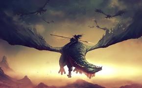 Картинка фантастика, дракон, битва