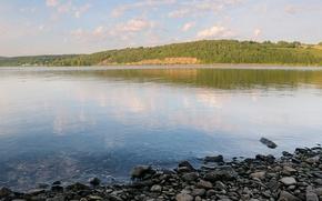 Обои вода, озеро, берег, Камни