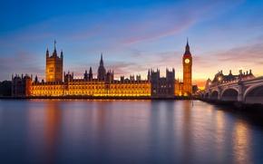 Картинка мост, город, река, Англия, Лондон, утро, Великобритания, Темза, Биг-Бен, Вестминстерский дворец, London, England, Big Ben, …