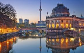 Обои мост, Германия, огни, Музей Боде, вечер, башня, река, Берлин