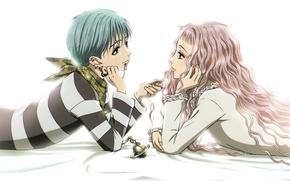 Картинка пирсинг, зажигалка, белый фон, двое, розовые волосы, вьющиеся волосы, нана, nana, shinichi okazaki, reira serizawa, …