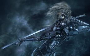 Обои девушка, Metal Gear Solid, меч, катана, киборг
