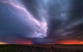 Картинка небо, тучи, шторм, молнии, вечер