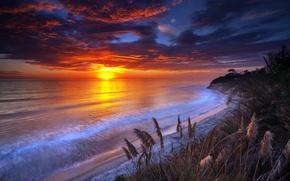 Обои закат, берег, море