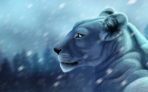 Обои фон, рисунок, хищник, размытие, арт, львица