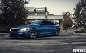 Картинка BMW, Blue, Front, Vorsteiner, Pirelli, F32, 103, 2015, 435i, V-FF, Estoril