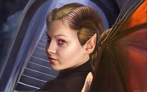 Картинка взгляд, девушка, лицо, крылья, рога, Tiziano Baracchi, демоница
