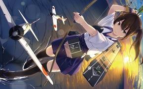 Картинка море, взгляд, девушка, закат, оружие, лук, самолеты, жест, art, kantai collection, kaga aircraft carrier, unasaka …