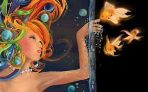 Картинка вода, девушка, рыбки, рыбы, пузырьки, рисунок, рука, золотые
