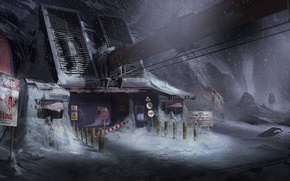 Картинка Снег, Гора, Столбы, Здание, Броня, Арт, Техника, Айзек Кларк, Electronic Arts, Dead Space 3, Ситуация, …