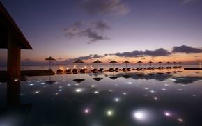Картинка огни, океан, вечер, бассейн