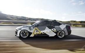 Картинка BMW, German, Car, Speed, Front, Sun, 335i, Side, Road, Autobahn