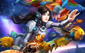 Картинка девушка, космос, рыбы, птицы, планета