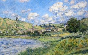 Обои река, картина, Клод Моне, Ветёй. Пейзаж