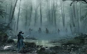 Картинка бой, арт, поединок, самураи, david benzal, samurai battle