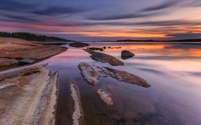 Картинка камни, отражение, деревья, берег, вечер, вода, Норвегия, небо, скалы, река, облака, закат