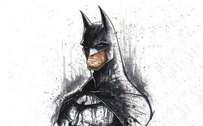 Картинка batman, art, minimalistic, dc comics, artwork, superheroes, white background