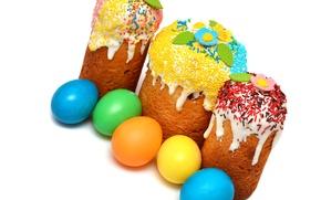 Обои Яйца, Кулич, Праздник, Еда, Выпечка, фото, Пасха