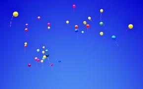 Обои небо, воздушные шары, шары, синее, летят