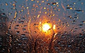 Картинка стекло, солнце, капли, закат, дождь