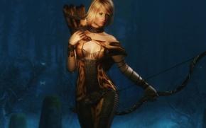 Картинка девушка, рендеринг, фон, тело, лучница