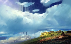 "Картинка поле, небо, человек, Картина, посох, ""fresh breeze"""