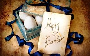 Картинка лист, бумага, праздник, надпись, яйца, Пасха, лента, ящик, Easter