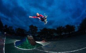 Картинка звезды, облака, свет, ночь, прыжок, скейтбординг, скейтборд, экстремальный спорт