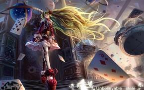 Картинка карты, девушка, магия, часы, книга, vocaloid, hatsune miku, глобус, вокалоид, art, походка, neko-mura ikkro
