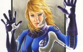 Картинка женщина, костюм, супергерой, art, Susan Storm, invisible woman, fantastic four