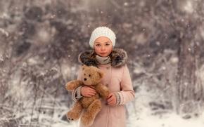Обои девочка, Lorna Oxenham, снег, Winter Beauty, прелесть, мишка