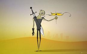Обои пустыня, постапокалептика, меч, цветок