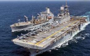 Картинка USS Bataan (LHD 5), флот, корабли, армия, USNS Laramie (T-AO 203)