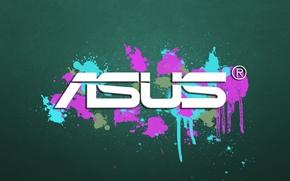 Картинка брызги, краска, логотип, logo, Asus
