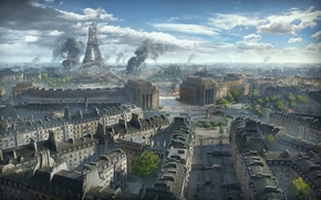 Картинка Париж, Эйфелева башня, Paris, Art, Eiffel Tower, World of Tanks