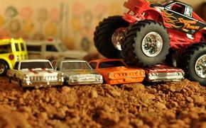 Картинка машина, авто, игрушка, размытость, автомобиль, автомобилей, пикап, 4x4, боке, pickup, макро., препятствия, BigFoot, преодолевает, старых, ...