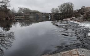 Картинка мост, природа, река, пасмурно, поток, Nature, river, bridge
