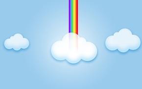 Обои радуга, небо, компьютерная графика, облака