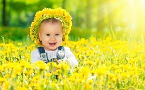Картинка улыбка, одуванчики, венок, ребёнок, солнечный свет