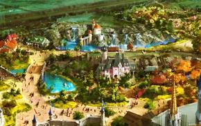 Обои пейзаж, город, люди, замок, фантастика, праздник, рисунок, аттракционы, fantasy, карнавал, королевство, art