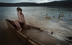 Картинка девушка, лодка, затоп