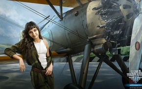 Картинка девушка, комбинезон, биплан, World of Warplanes