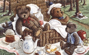 Картинка природа, арт, пикник, Жанет Крускамп, мишка. игрущка