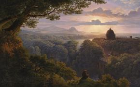 Картинка картина, живопись, painting, Karl Friedrich Schinkel, Landschaft mit Pilger, 1813